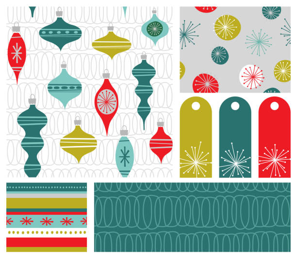 Set of new coordinating holiday seamless patterns, gift tags and design elements for gift wrap, cards and decoration. Simple flat retro style for Christmas and New Years. vector art illustration