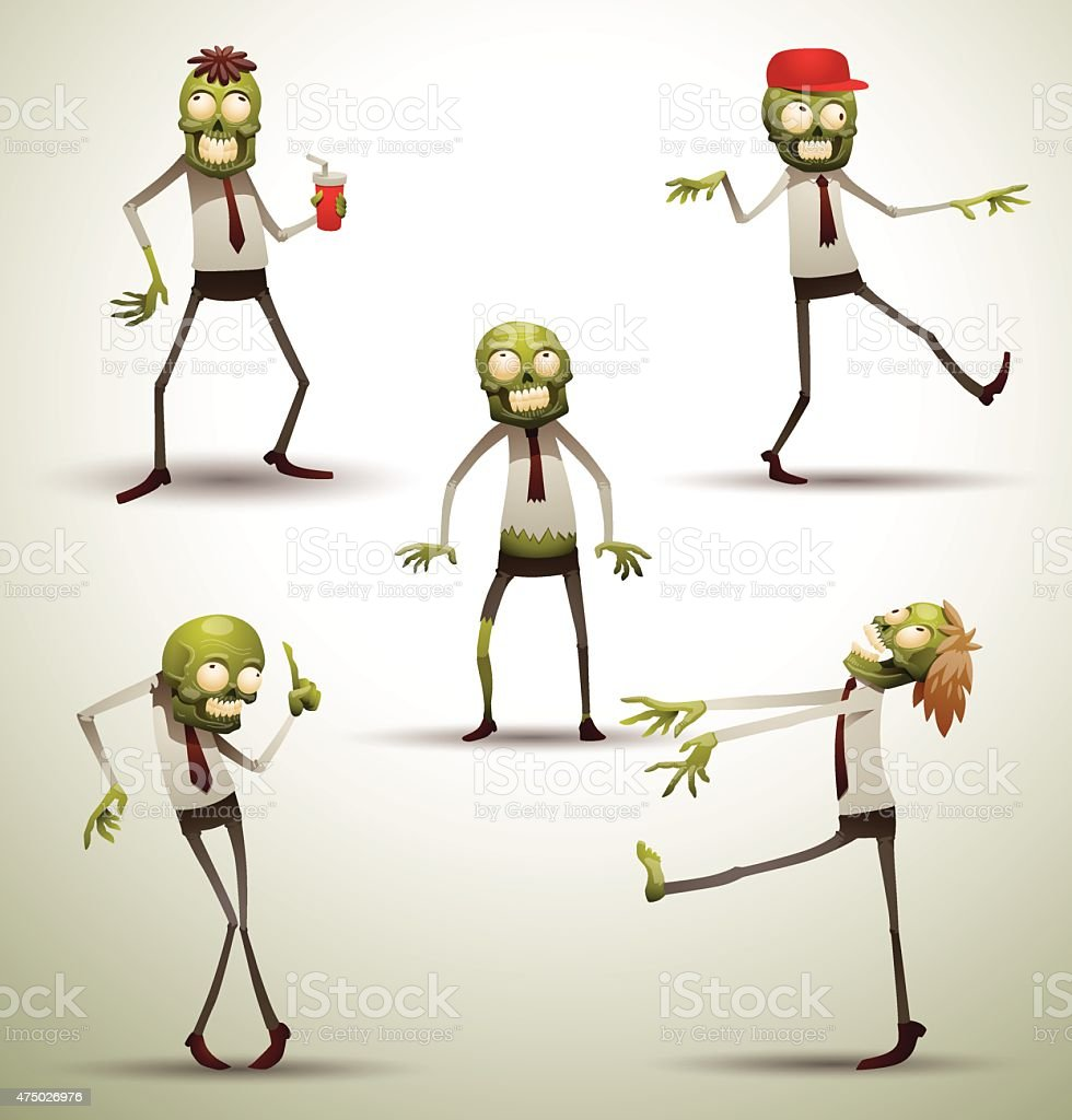 Set of New Office Zombies vector art illustration