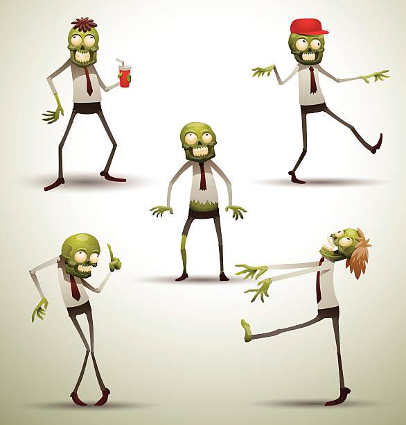 bildbanksillustrationer, clip art samt tecknat material och ikoner med set of new office zombies - coffe with death