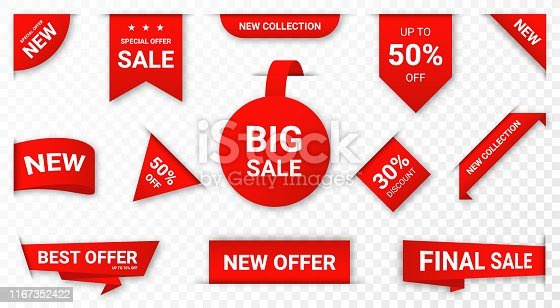 Set of new stickers, sale tags and labels. Shopping stickers and badges for merchandise and promotion, special offer, new collection, discount etc. Red stickers for web banners with realistic transparent shadow. Vector