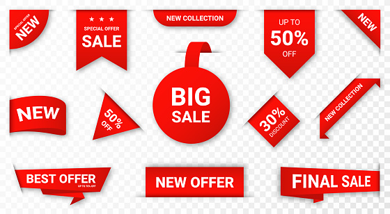 Set of new stickers, sale tags and labels. Shopping stickers and badges for merchandise and promotion, special offer, new collection, discount etc. Red stickers for web banners with realistic transparent shadow