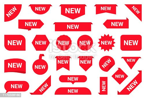Set of new stickers, sale tags and labels. Shopping stickers and badges for merchandise and promotion, special offer, new collection, discount etc. Red labels for web banners in different shapes. Vector