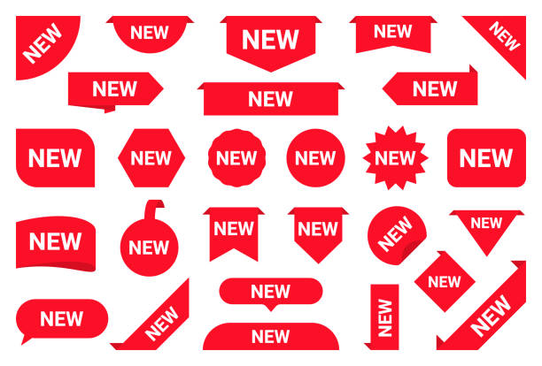 Set of new stickers, sale tags and labels. Shopping stickers and badges for merchandise and promotion, special offer, new collection, discount etc. Red labels for web banners in different shapes vector art illustration