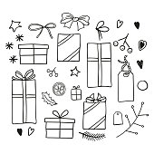 set of new year and xmas icons for decorating ts in doodle style vector id