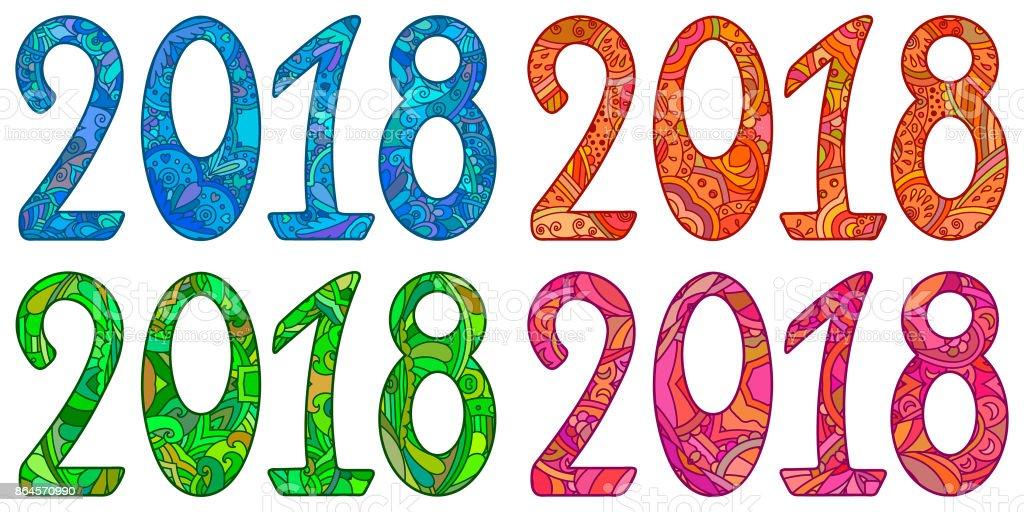 Ilustracion De Juego De Ano Nuevo Multicolor Numero 2018 Y Mas Banco