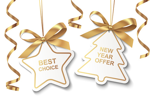 Set of New Year or Christmas Sale tags with golden ribbon and bow isolated on white background.