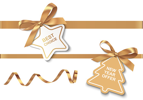 Set of New Year or Christmas Sale tags with golden ribbon and bow on white background.