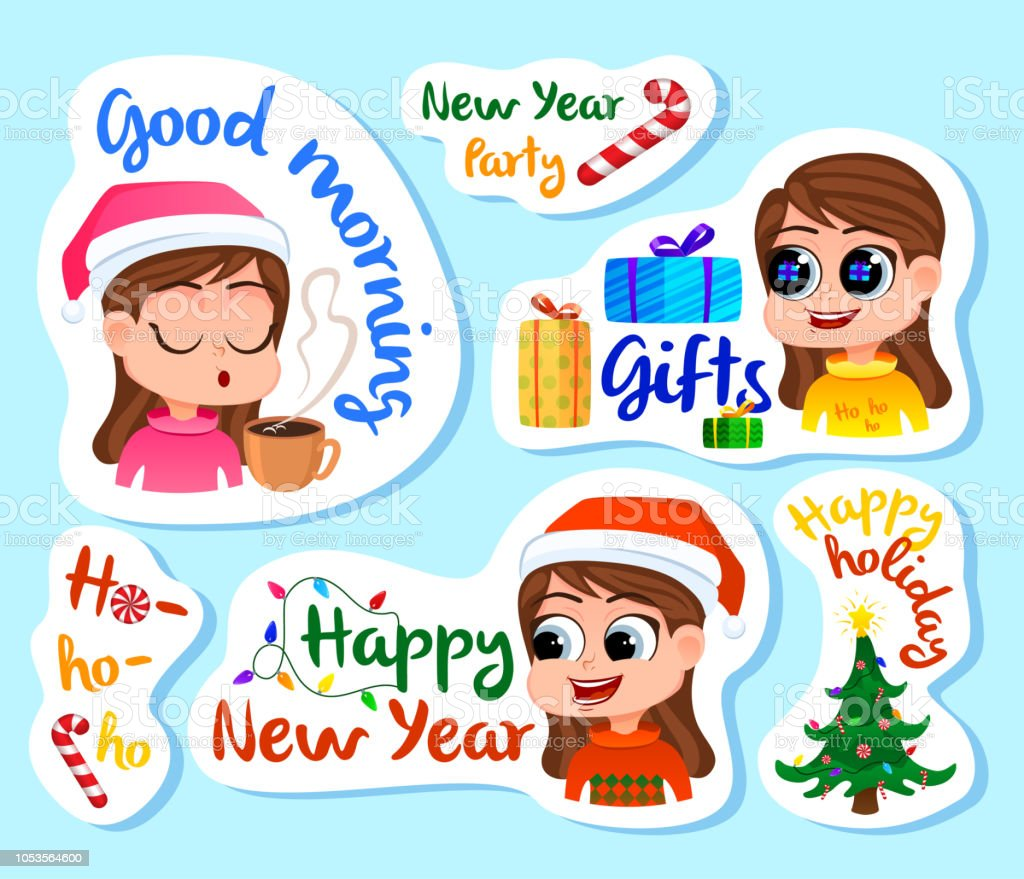 set of new year stickers or magnets festive souvenirs holidays