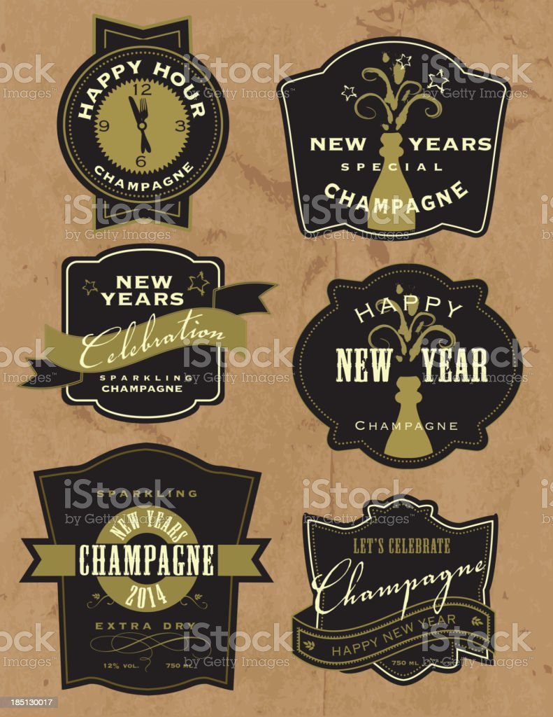 Set of New Years Champagne labels vector art illustration