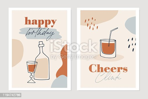 Set of New Years greeting cards, party invitations. Cocktail, wine bottle and drink glasses. Cheers and happy birthday text. Abstract geometric shapes background. Vector illustrations.