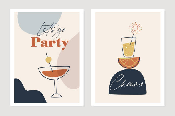 set of new years greeting cards, party invitations. cocktails, drink glasses with orange fruit and sparkler. cheers and lets go party text. abstract geometric shapes background. vector illustrations. - koktajl alkoholowy stock illustrations