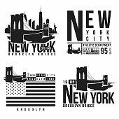 Set of New York, Brooklyn Bridge typography for t-shirt print. Stylized Brooklyn Bridge silhouettes. Tee shirt graphic, t-shirt design. Vector
