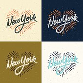 Set of New York calligraphic t-shirt designs