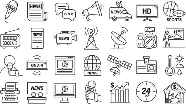 illustrations, cliparts, dessins animés et icônes de ensemble d'icônes de nouvelles et de médias dans le modèle mince de ligne - interview