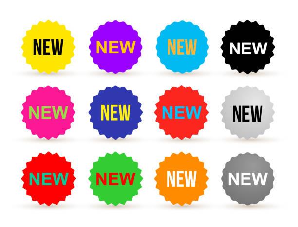 ilustrações, clipart, desenhos animados e ícones de conjunto de adesivo colorido do notícias. novo crachá ou etiqueta, varejo de produto. projeto liso. ilustração em vetor. isolado no fundo branco - tag