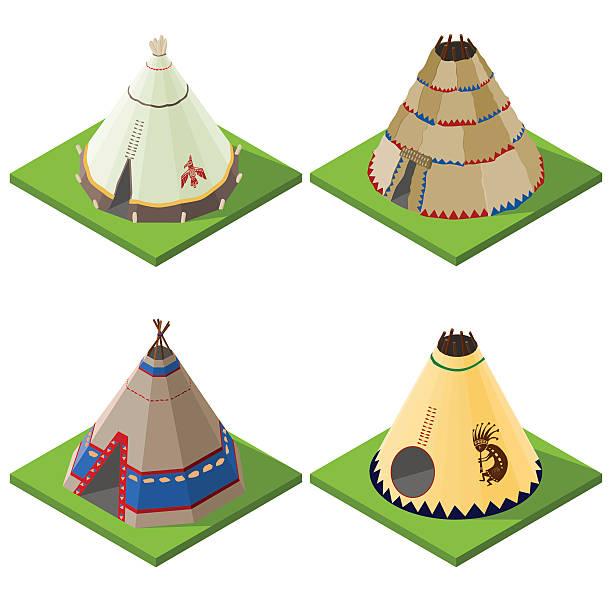 Set of nice looking bright isometric indian wigwams and tents. Set of nice looking bright isometric indian wigwams and tents. Vector illustration. teepee stock illustrations