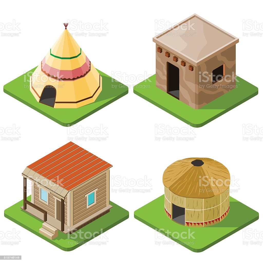 Set of nice looking bright isometric tribal native houses vector art illustration