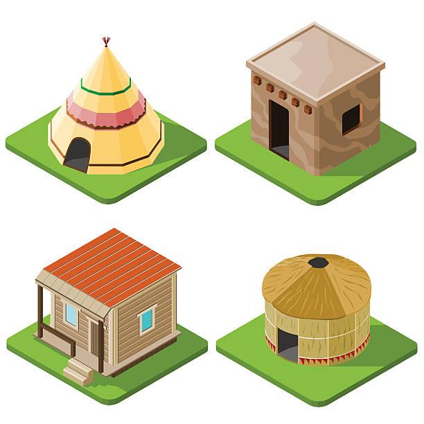 Set of nice looking bright isometric tribal native houses Set of nice looking bright isometric tribal native houses, huts and tents. Vector illustration. teepee stock illustrations