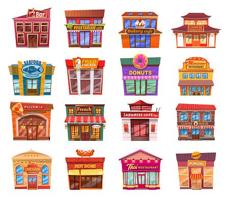 Set of nice shops. Different showcases pizzeria, restaurant, cafe, bar flat vector illustration