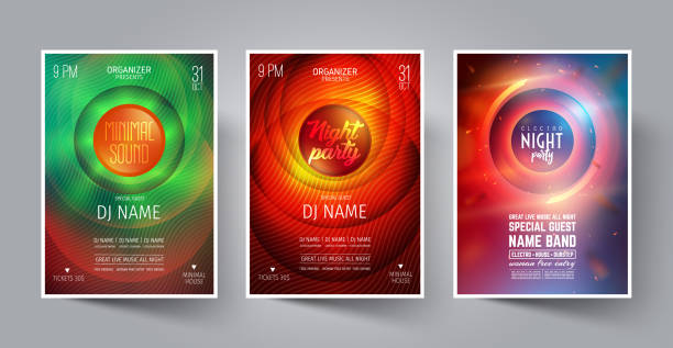 Set of Night Party Flyer or Poster or Banner Layout Template for Music Dance Club in the style of the Disco, House, Minimal, Trance ,Electronics or Indie Festival Rock Concert. Vector illustration. Set of Night Party Flyer or Poster or Banner Layout Template for Music Dance Club in the style of the Disco, House, Minimal, Trance ,Electronics or Indie Festival Rock Concert. electro music stock illustrations