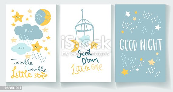 Set of nighty night baby cards. Good night, twinkle star, sweet dream. Hand lettering and cute illustrations.