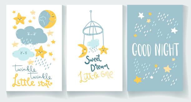 Ensemble de cartes de bébé de nuit. Bonne nuit, étoile scintillante, doux rêve. - Illustration vectorielle