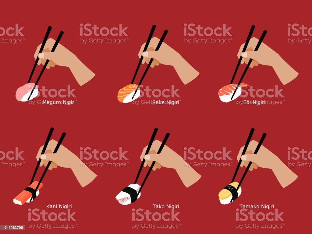 Set of Nigiri sushi grabbed  by chopsticks vector art illustration