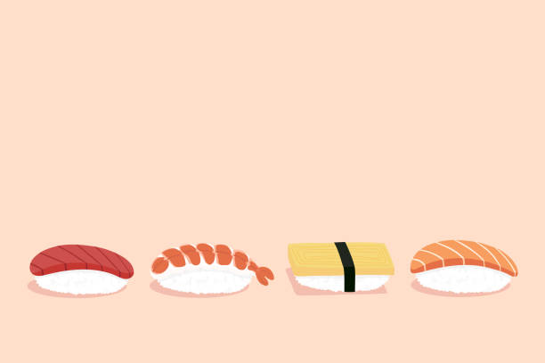 Set of nigiri sushi illustration, with copy space, pink background vector art illustration