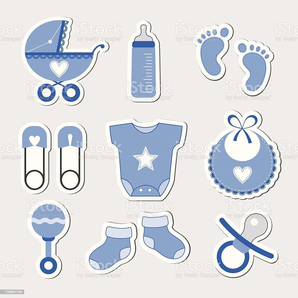 Icônes de bébé garçon - Illustration vectorielle