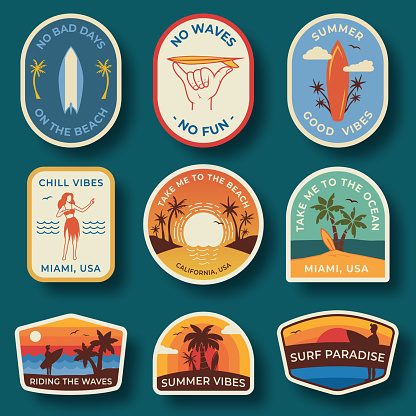 Set of nine beach badges. Hand drawn palm trees and beach elements in retro style. Summer labels, badges and icons