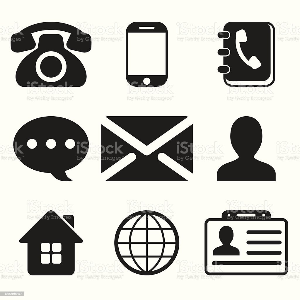 Set of nine black contact icons royalty-free set of nine black contact icons stock vector art & more images of adult