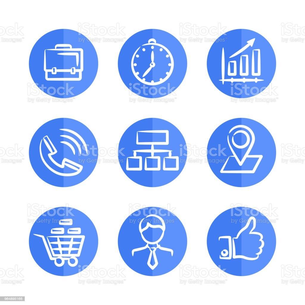 在圓形框架上設置九個藍色商業圖示。 - 免版稅互聯網圖庫向量圖形
