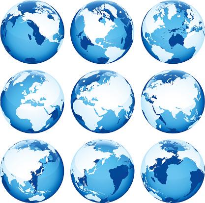 Set of nine blue globe icons on a white background