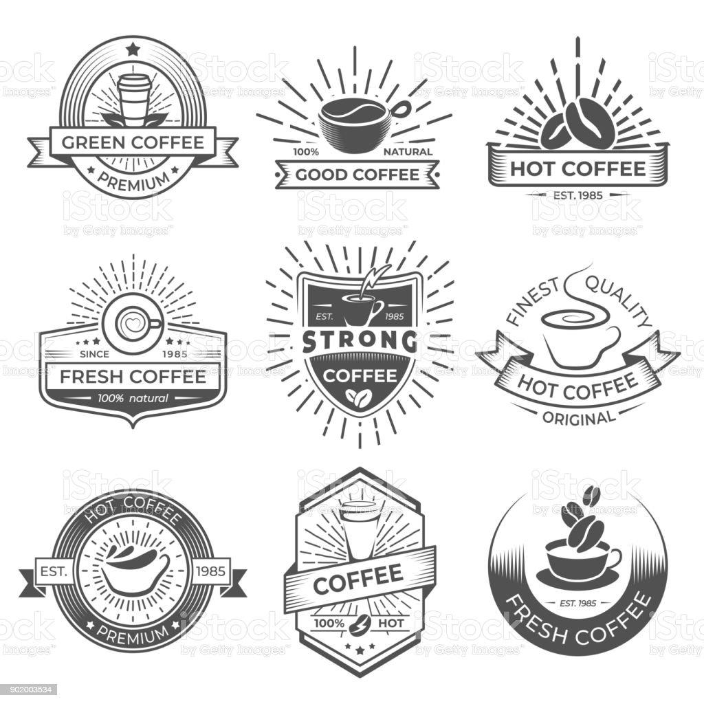 Satz Von Neun Kaffee Symbol Vorlagen Kaffeeetiketten Mit ...