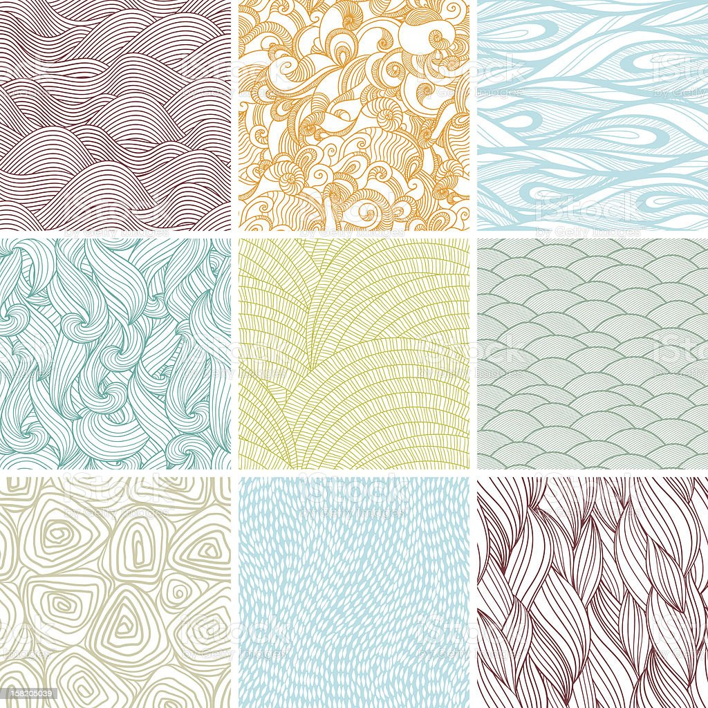 Set of nine colored wavy curly seamless textures. royalty-free stock vector art