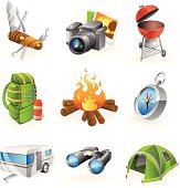 Camping icon set with 9 colorful icons.