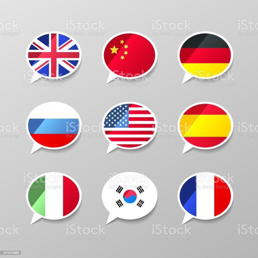 Conjunto de nueve burbujas de discurso colorido con banderas, concepto lenguaje diferente - ilustración de arte vectorial