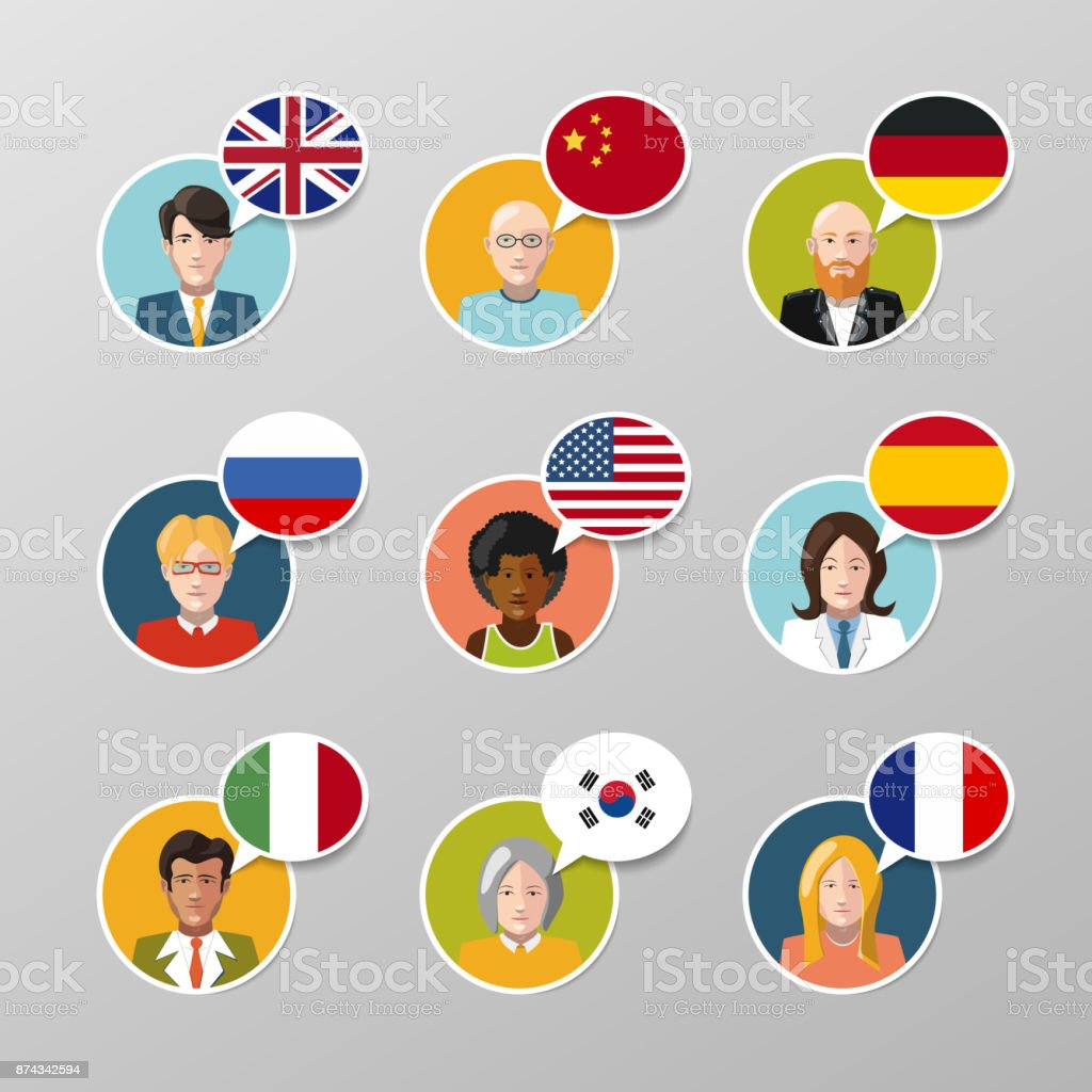 Set of nine colorful user avatars with different language speech bubbles vector art illustration