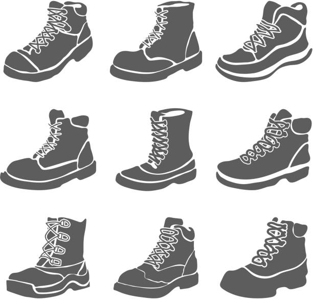 Set of nine different boots illustration isolated on white background vector art illustration