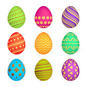 Set of Nine Easter eggs with different colorful texture on a white background. Vector illustration