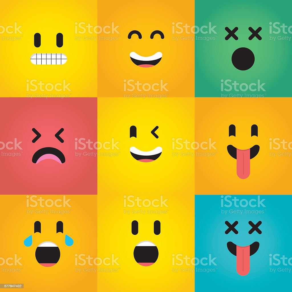 Set Of Nine Emoji Character Faces Stock Vector Art & More