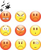 Set of nine face based emoticons for anger, sorrow and hurt