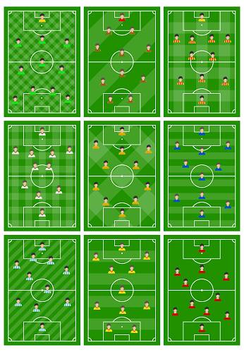 Set of nine football fields with a different scheme of players on the field