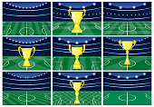 Set of nine football stadiums with a golden cup on green grass