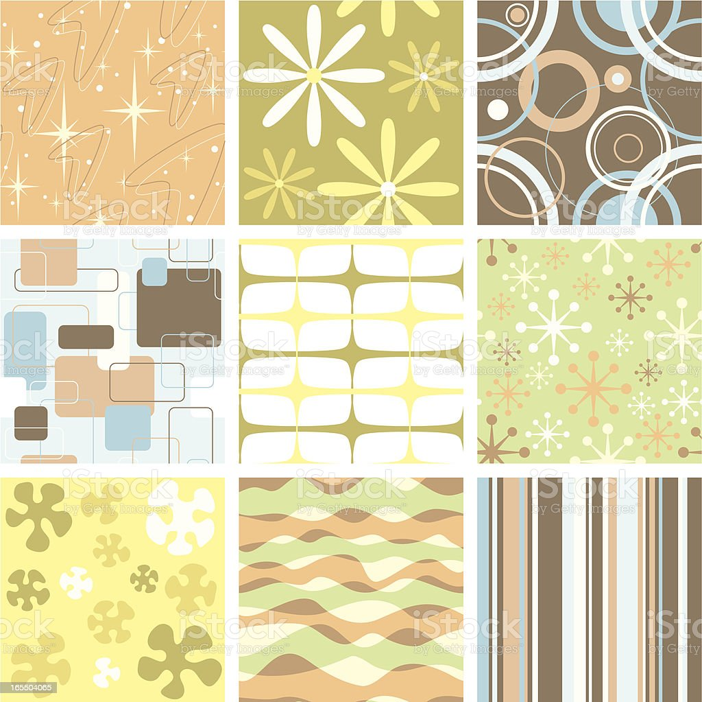 Set of nine funky retro seamless patterns vector art illustration