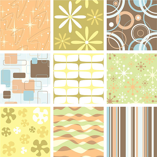 set of nine funky retro seamless patterns - 1960s style stock illustrations, clip art, cartoons, & icons