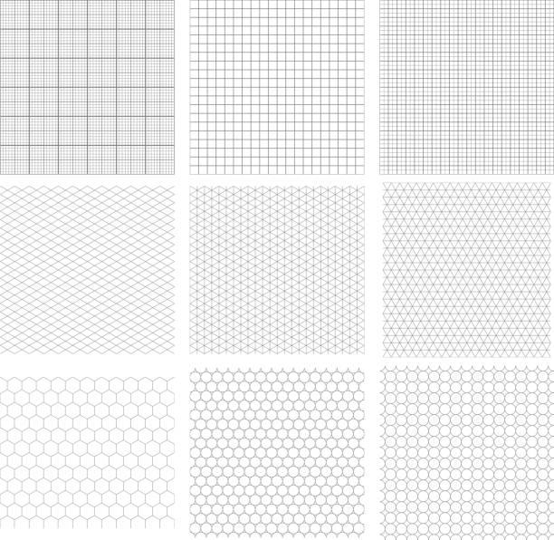 set of nine gray geometric grids - geometriestunde grafiken stock-grafiken, -clipart, -cartoons und -symbole
