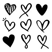 Set of nine hand drawn heart. Hand drawn rough marker hearts isolated on white background. Vector illustration for your graphic design.