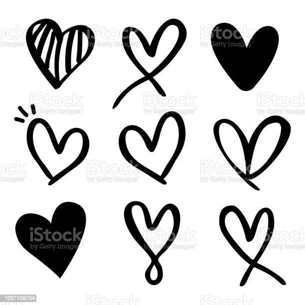 Set Of Nine Hand Drawn Heart Hand Drawn Rough Marker Hearts Isolated On White Background - Arte vetorial de stock e mais imagens de Abstrato