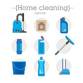 set of nine icons cleaning